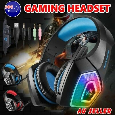 Gaming Headset MIC LED Headphones Surround for Mac Laptop PS4 Xbox One PC 3.5mm