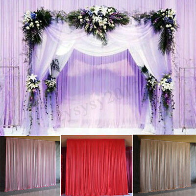 2.4M Colorful Ice Silk Cloth Wedding Party Backdrop Curtain Drapes Background UK