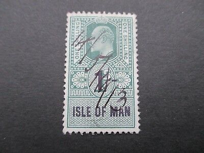 Isle Of Man, Edward Vii, 1/- Green Revenue Stamp, Mounted Mint, Free Postage