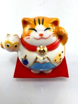 Lucky Cat Fortune Ceramic owl Good Luck Thai Chinese Japanese Waving 1 pc