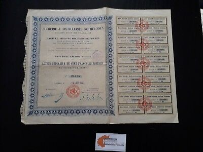 Action Sucreries Et Distilleries Retheloises Action 100 Fr 1923 - P05