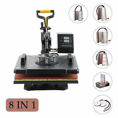 "8 in 1 12"" X 15"" Heat Press Machine for T Shirt  Mug Hat Plate Cap Mouse Pad"