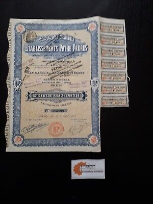 Action Etablissements Pathe Freres Action 100 Francs 1912 - P05