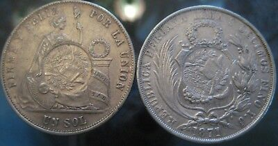 GREAT GUATEMALA AUCTION start 1 $ 1/2 Real Counterstamp on PERU 1 SOL 1871 -1875