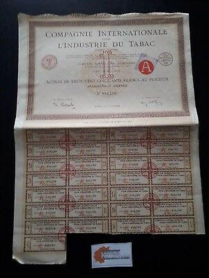 Action Cie Internationale Pour Industrie Tabac Action 250 Francs 1924 - P05