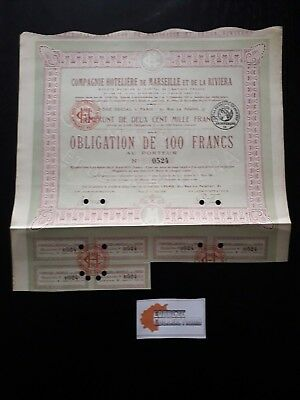 Action Cie Hoteliere Marseille Riviera Obligation 100 Francs 1920 - P05