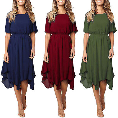 Women Summer Casual Swing Midi Dress Ladies Evning Party Ruffle Shirt Dress