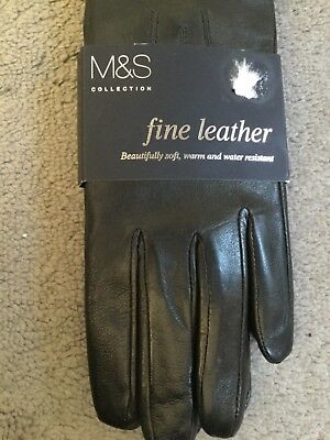 M&s Black Leather Gloves In Fine Leather -Soft,warm & Water Resistant - M - Bnwt