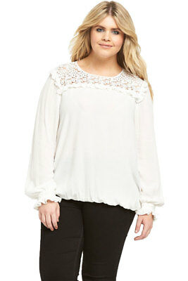 V By Very Curve Lace Yolk Woven Blouse In Ivory Size 16