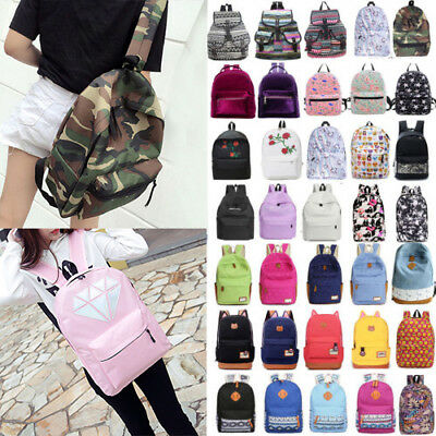 Fashion Women Girls Canvas School Backpack Shoulder Bags Travel Rucksack Satchel