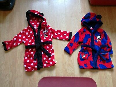 Twins Disney Dressing Gowns 1-1.5 18 Months Minnie Mickey Gowns
