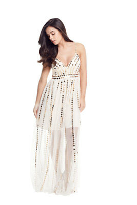 V by Very Petite Sequin Tulle Maxi Dress In Nude Size 12