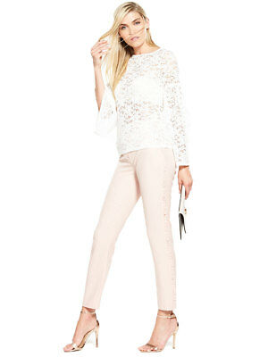 V by Very All Over Lace Long Sleeve Top in Ivory Size 12