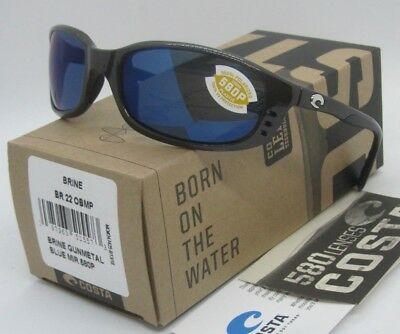 COSTA DEL MAR gunmetal/blue mirror BRINE POLARIZED 580P sunglasses! NEW IN BOX!