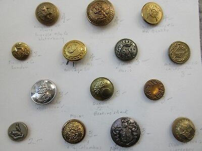 Carded Lot of 26 Antique~ Vtg Metal Military/ Uniform BUTTONS Rare, US++ (M5)
