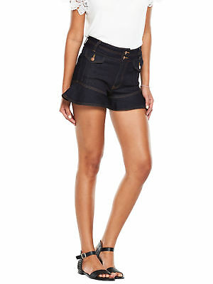 V by Very High Waisted Frill Shorts in Indigo Size 8
