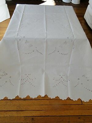 Antique Linen - Irish Linen Cloth With Embroidered Butterflies