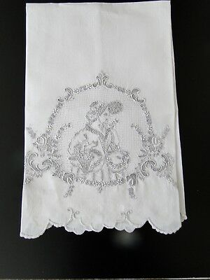 Antique Linens-Lovely Appenzell Tea Towel With Lady In Period Dress