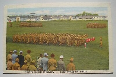 Camp Atterbury IN Troops Passing Old 1942 Soldier's Mail Postcard; to Perham MN