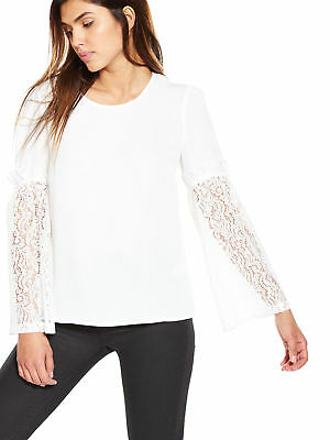 V by Very Lace Sleeve Blouse in Ivory Size 12