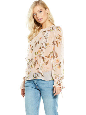 V by Very Frill Front Blouse In Floral Print Size 8