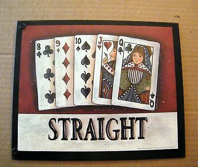 Casino Texas Hold'em cards Blackjack Gambling Poker STRAIGHT wood SIGN 9x11""
