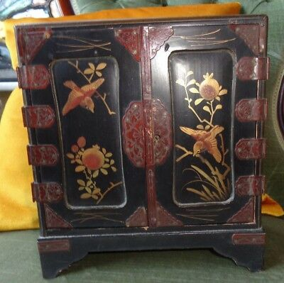 Antique Kodansu Japanese Meiji Period Lacquer  Cabinet Box