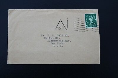 428 Triangle postmark on an envelope to USA