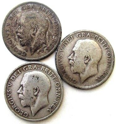 Great Britain Uk Coins, One Shilling 1915 & 1916 & 1917, George V, Silver 0.925