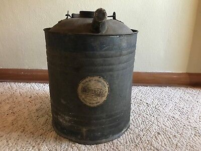 Vintage IMPERIAL 5 Gal Oil Gas Can Aluminum Galvanized Quality Metal Ware