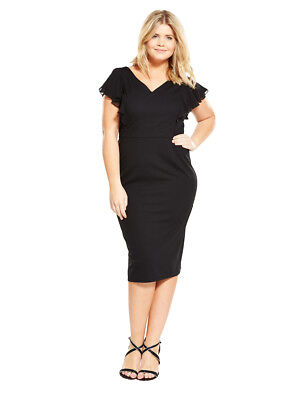V by Very Curve Ruffle Pencil Dress in Black Size 14