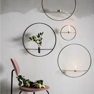 3D Geometric Wall Mounted Candle Holder Metal Tea Light Home Candlestick Decor