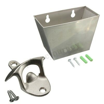 Wall Mount Stainless Steel Bar Beer Bottle Opener + Cap Catcher Box Screw NEW !