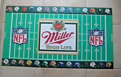 Vintage 1991 NFL Football Helmets MILLER HIGH LIFE Beer Tacker Tin Sign 30 x 17