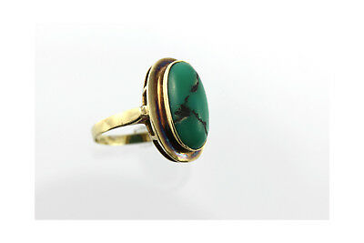 Goldring grüner Cabochon Stein alter Gold Schmuck 333 Ring vintage jewelry green