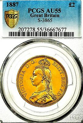 1887 Queen Victoria Great Britain Two Pounds Double Sovereign £2 Coin PCGS AU55