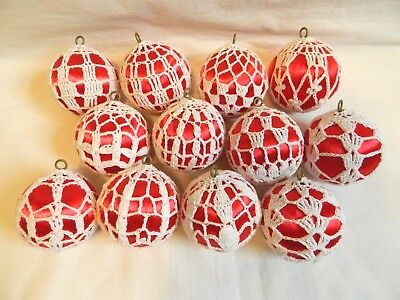 Red Satin Christmas Balls Ornaments White Crochet Wrapped