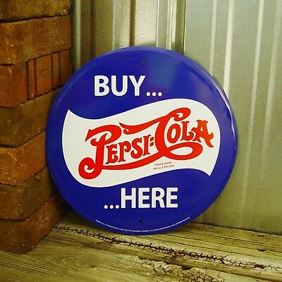 "Pepsi Cola Buy Here 12"" Round Metal Tin Sign Vintage Style Man Cave Soda Bar"