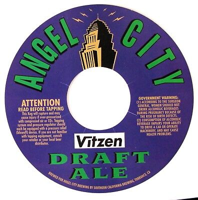 Angel City by Southern Calif Brew ANGEL CITY DRAFT ALE beer label CA - KEG LABEL