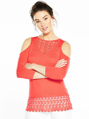 V by Very Lace Cold Shoulder Jumper In Coral Size 14