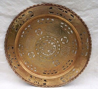 Chinese Cut Engraved Brass Serving Tray Horse Dragon Bats Early 20th C