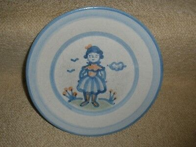 "Salad Plate M.A Hadley GIRL Farmers Wife Hand Painted Pottery 8 7/8"" VTG signed"