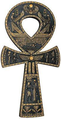 Toscano Ancient Egyptian Ankh Wall Plaque  16 Inch, Black and Gold