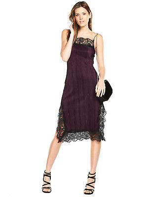 V by Very Lace Trim Pleated Dress in Purple Size 16