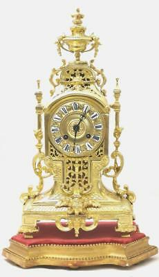 Beautiful Antique French 19th c Gilt Brass Mantel Clock On Base by Japy Freres