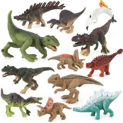 Set 12pcs Large Assorted vivid Dinosaurs Toys 7.5-10cm Plastic Dinosaur Figures