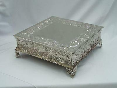 BRAND NEW Silver Square Embossed Wedding Cake Plateau Cake Stand