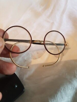 PAIR OF VINTAGE 1930s DEEP RED EARLY PLASTIC ROUND FRAME  SPECTACLES