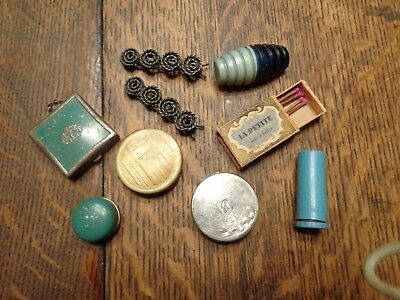 Vintage 3 Rouge Powder Compact Lipstick Barrettes Brooch Pin & Matches Lot