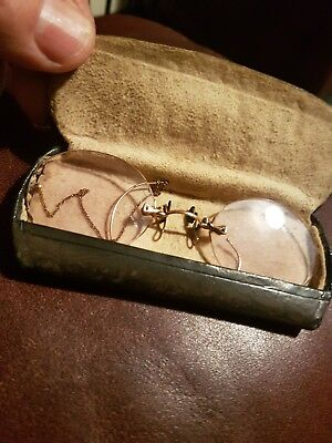 PAIR Of ANTIQUE PINCE NEZ WITH CASE